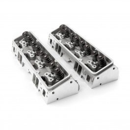 Chevy 350/327 64cc 190cc STRAIGHT  PLUG  2.05 / 1.60 STAINLESS VALVES Aluminum Cylinder Heads