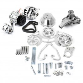 Chevy SBC 350 Aluminum Serpentine Complete Engine Pulley & Components Kit