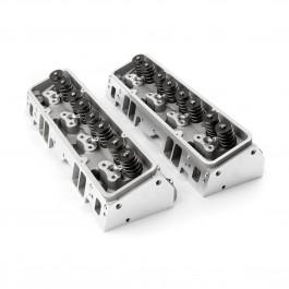 Chevy 350/327 64cc 190cc STRAIGHT  PLUG  2.02 / 1.60 STAINLESS VALVES Aluminum Cylinder Heads