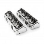 Chevy 350/327 64cc 190cc STRAIGHT  PLUG  2.05 / 1.60 STAINLESS VALVES Aluminum Cylinder Heads